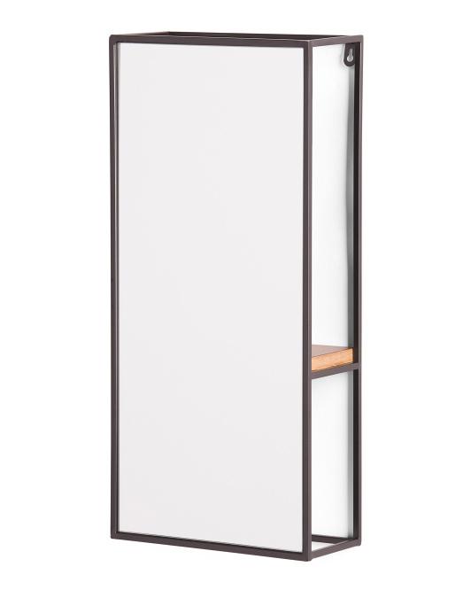 THREE HANDS Wall Mirror With Wood Shelf $39.99