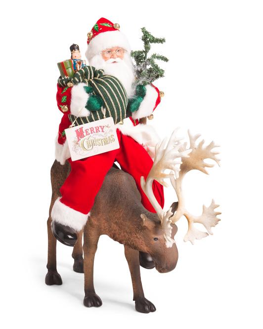 SANTAS WORKSHOP Santa On A Reindeer Decor $49.99
