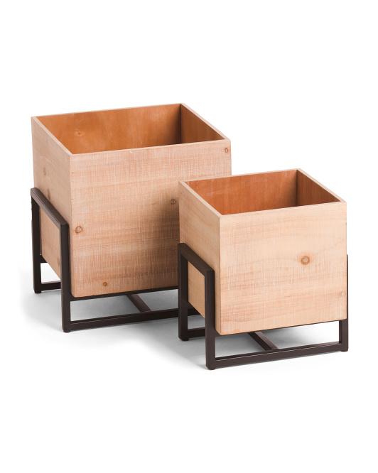 SAGEBROOK HOME Set Of 2 Wood Metal Square Planters $59.99