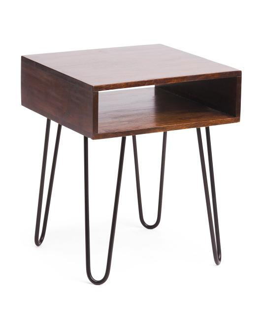 BP INDUSTRIES Hairpin Acacia Wood Side Table $69.99