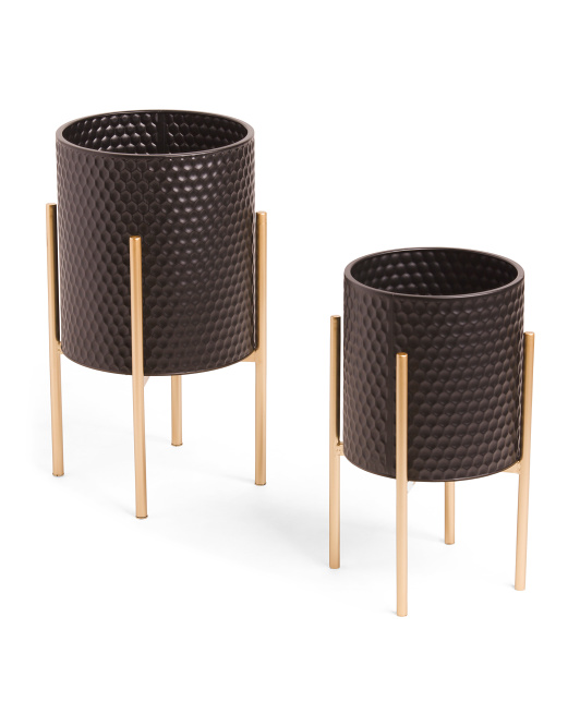 Set Of 2 Honeycomb Planters On Metal Stands $49.99