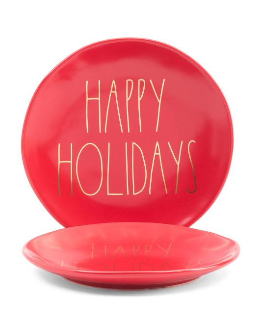 RAE DUNN 2pk Happy Holidays Plates $14.99
