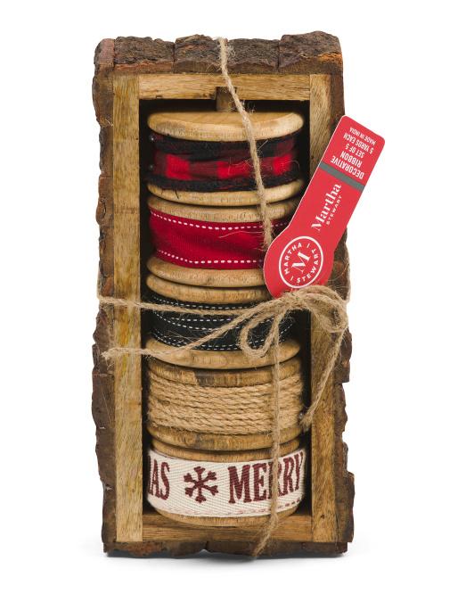 MARTHA STEWART Bark Tray With 5 Assorted Ribbons $19.99