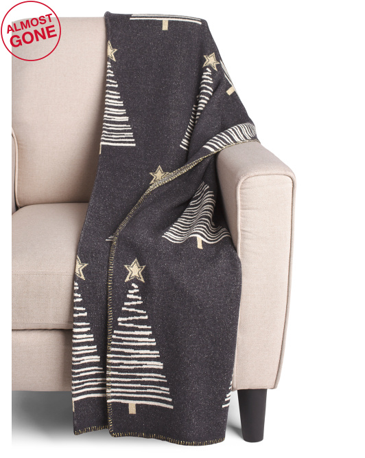 ASPEN Made In India Tree And Bling Star Throw $24.99