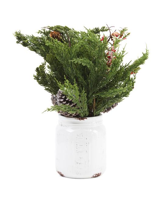 WELLESLEY MANOR 21in Snowed Pine And Pinecones In Pot $19.99