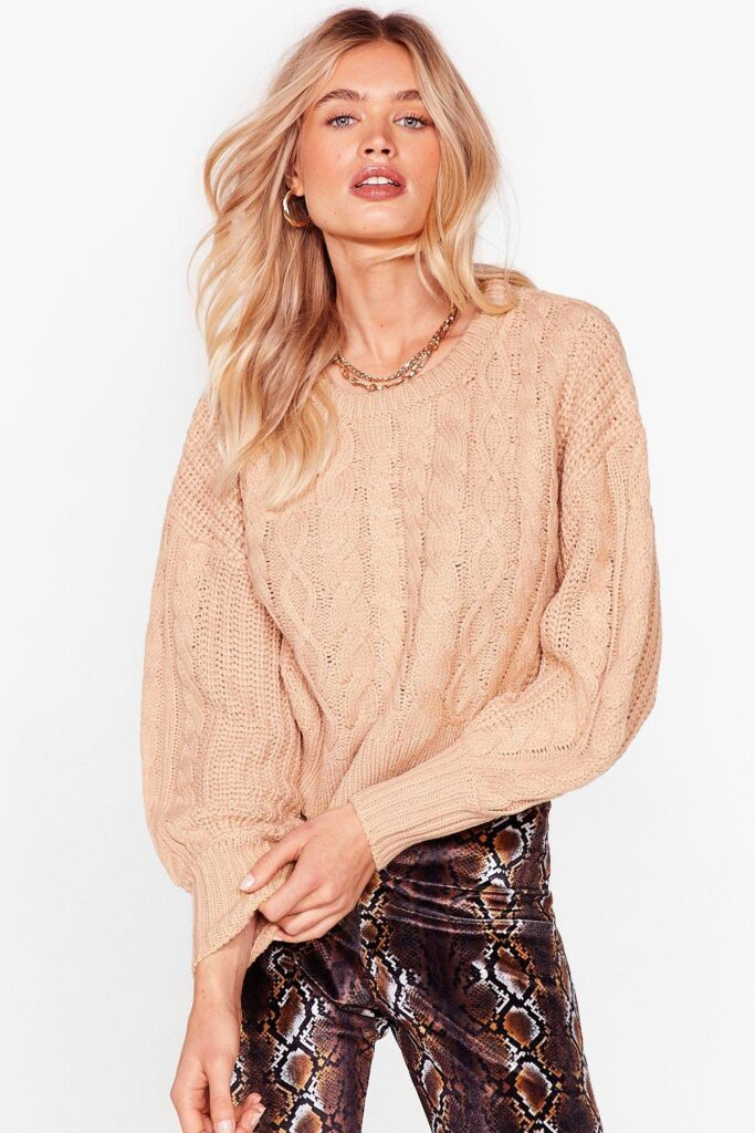 Cable Talk Relaxed Knitted Sweater $22.40