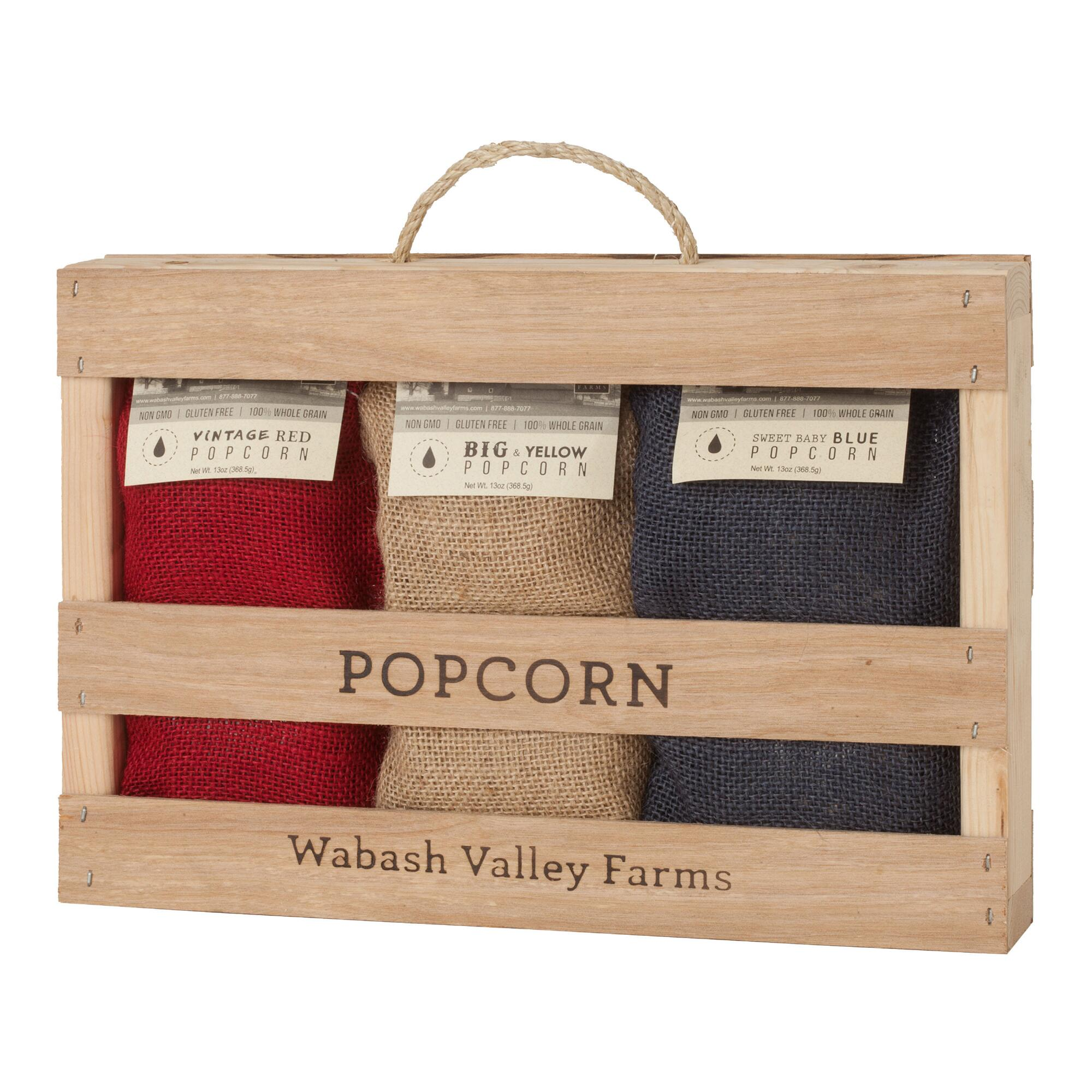 Wabash Valley Farms Popcorn Kernels 3 Piece Gift Crate $19.99