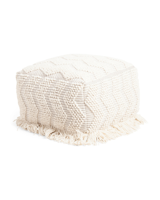 HANDCRAFTED IN INDIA 20x14 Textured Pouf $59.99