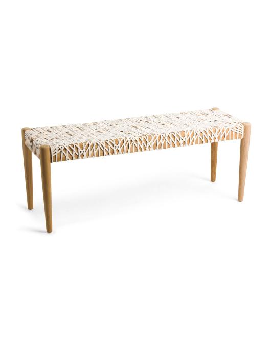 SAFAVIEH Bandelier Leather Weave Bench $229.99