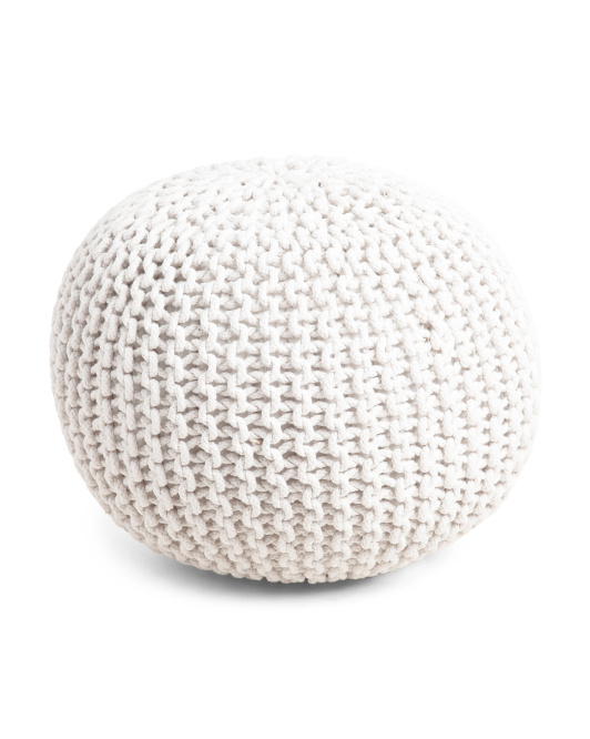 HANDCRAFTED IN INDIA 20in Hand Knit Round Pouf $39.99