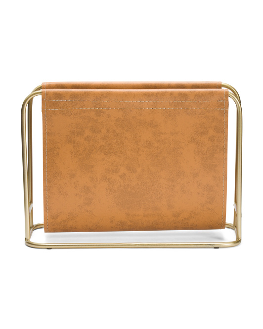 BECKI OWENS Metal And Leather Magazine Holder $19.99