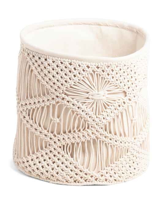 HANDCRAFTED IN INDIA Made In India Large Macrame Basket $24.99