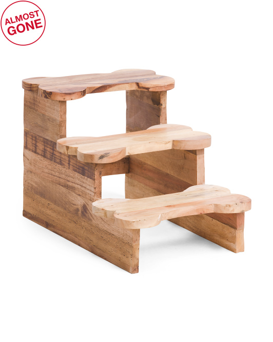 HANDCRAFTED IN INDIA 15in Natural Wood Bone Shape Pet Stairs $39.99