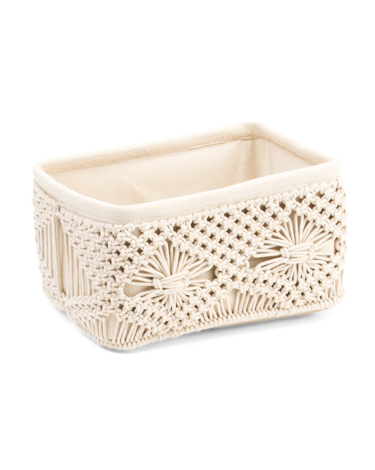 HANDCRAFTED IN INDIA Made In India Small Macrame Basket $14.99