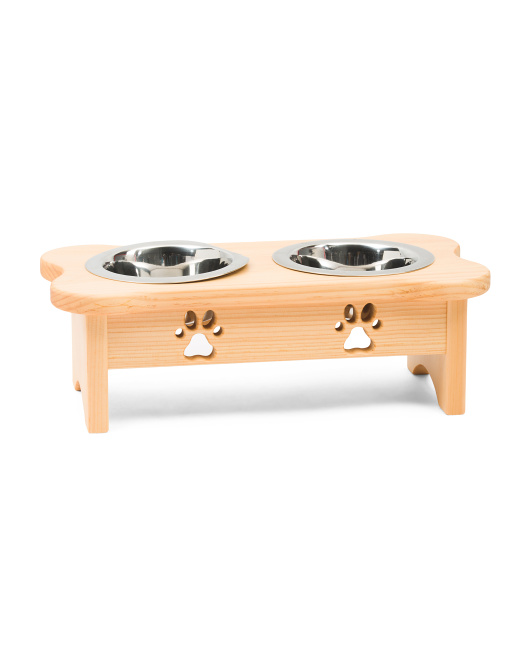 INDIPETS Made In The Usa Elevated Wood Pet Feeder $39.99