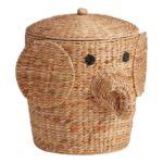 Natural Hyacinth Elephant Eloise Basket With Lid $79.99