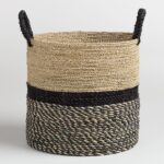 Large Black And Natural Seagrass Calista Tote Basket $39.99