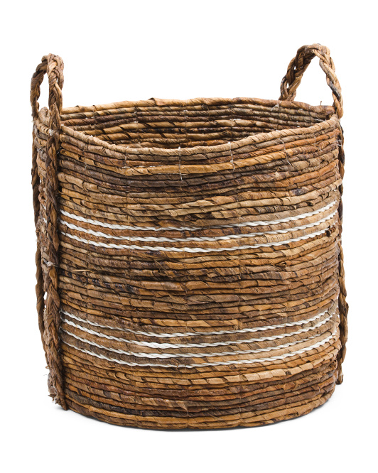 HANDCRAFTED IN INDIA Raffia Basket With Braided Handles $14.99
