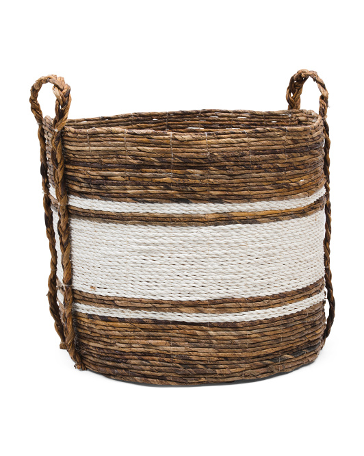 HANDCRAFTED IN INDIA Raffia Basket With Braided Handles $24.99