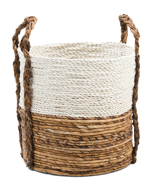 HANDCRAFTED IN INDIA Raffia Basket With Braided Handles $12.99 https://fave.co/2YjbJhV