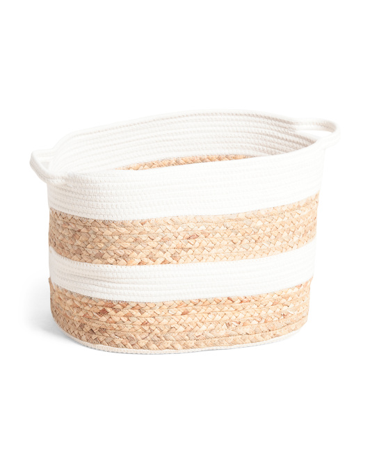 TAYLOR MADISON Large Rugby Stripe Oval Cotton Rope Floor Bin $16.99