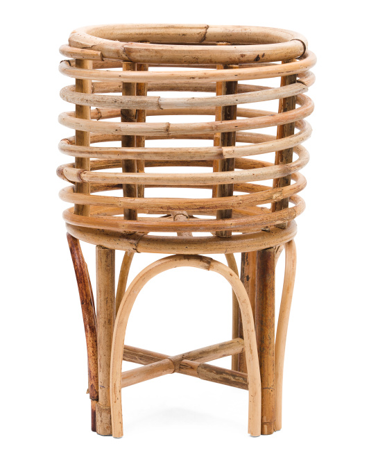 HANDCRAFTED IN VIETNAMSmall Rattan Planter With Stand$29.99
