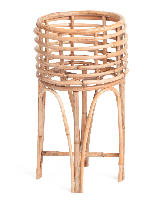 HANDCRAFTED IN VIETNAM Large Rattan Planter With Stand $39.99