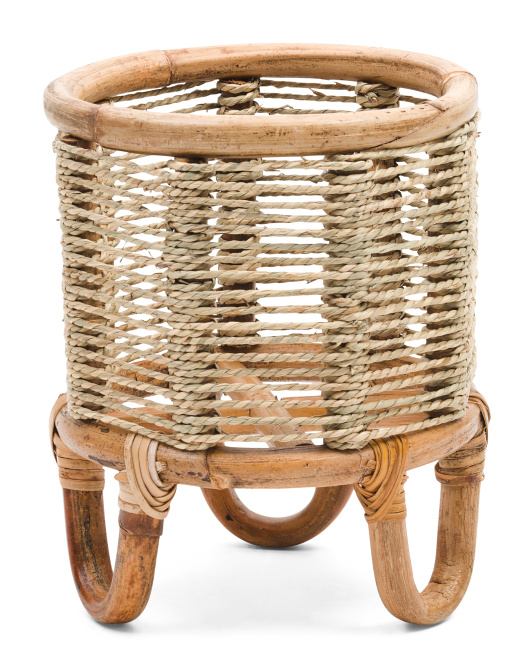 HANDCRAFTED IN VIETNAMSmall Seagrass Wove Planter With Stand$19.99