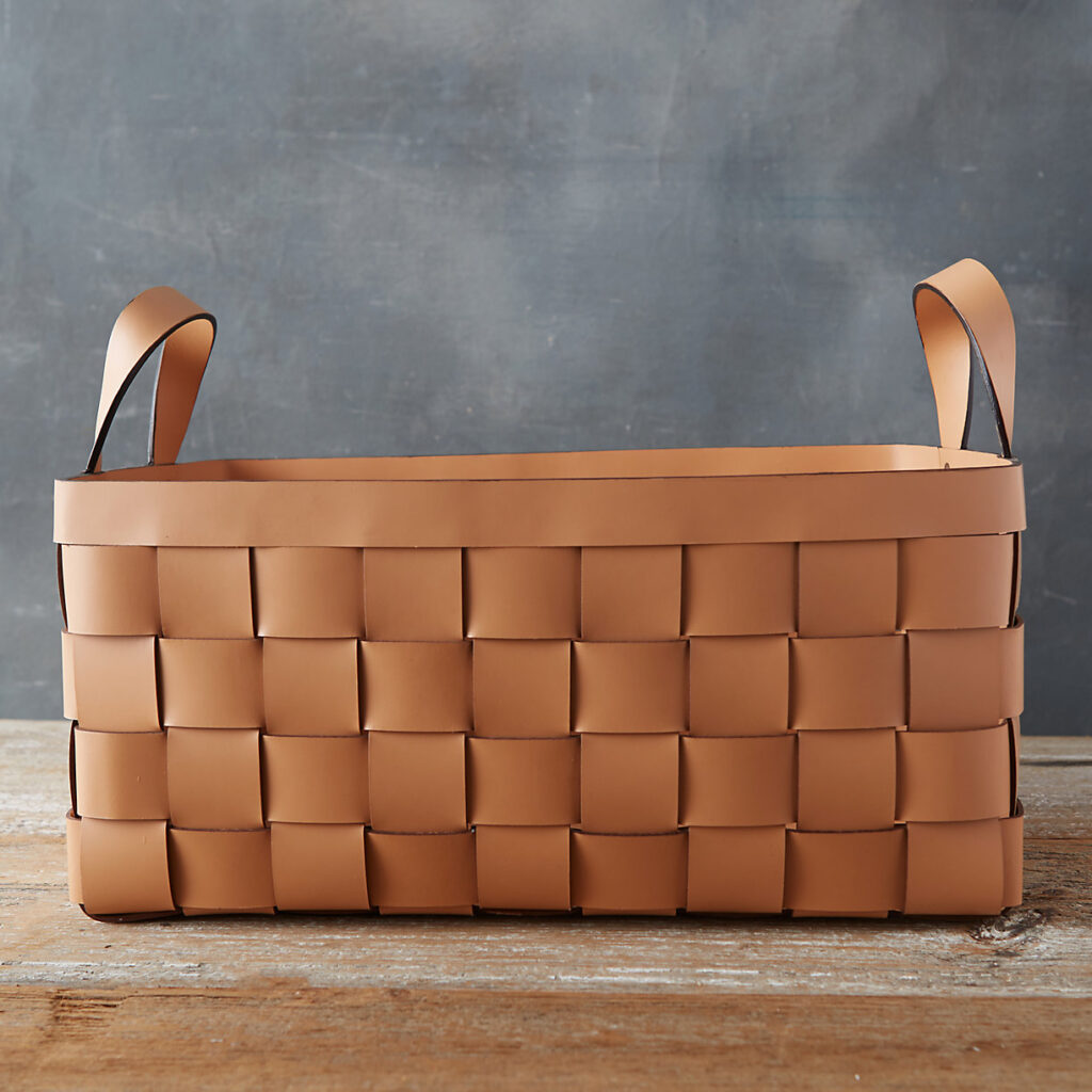 Wide Weave Leather Basket $198.00 https://fave.co/3bi26XK