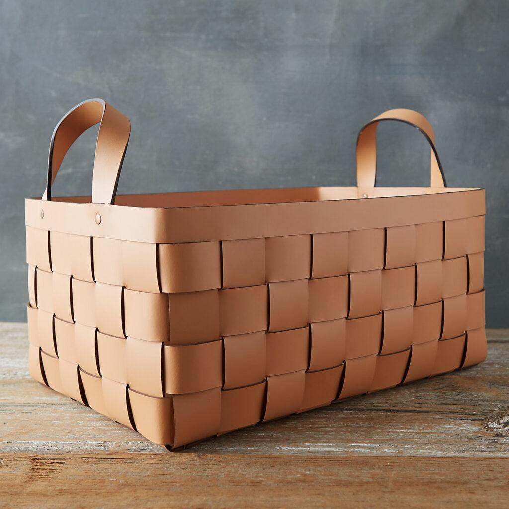 Wide Weave Leather Basket $198.00