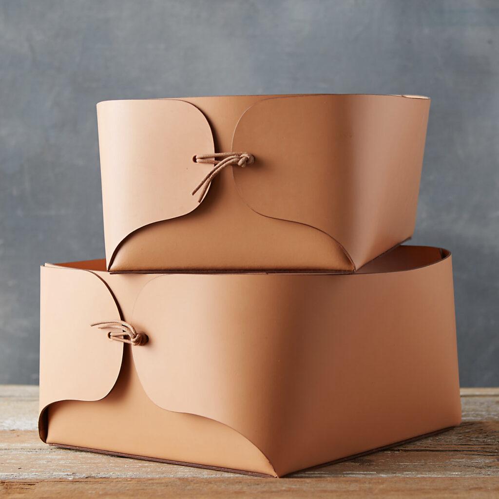 Folded Leather Basket $88.00–$98.00