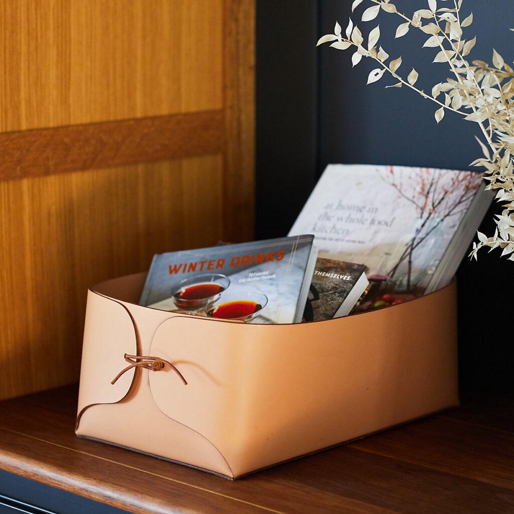 Folded Leather Basket $88.00–$98.00 https://fave.co/3bZI0kh
