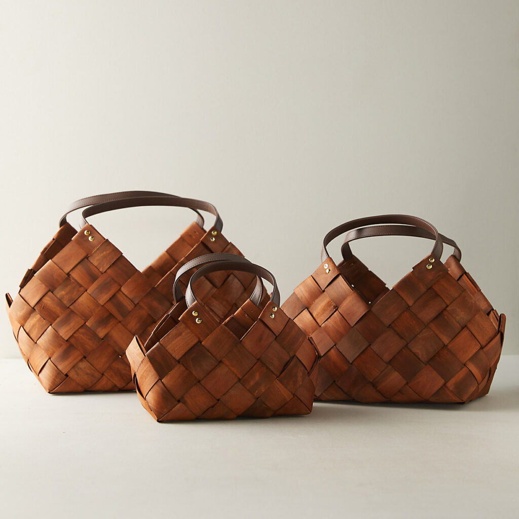 Woven Seagrass Basket with Leather Handles $28.00–$58.00