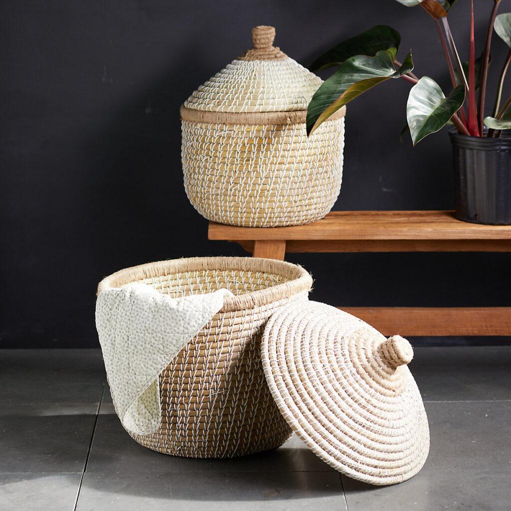 Round Lidded Seagrass Basket $118.00–$158.00