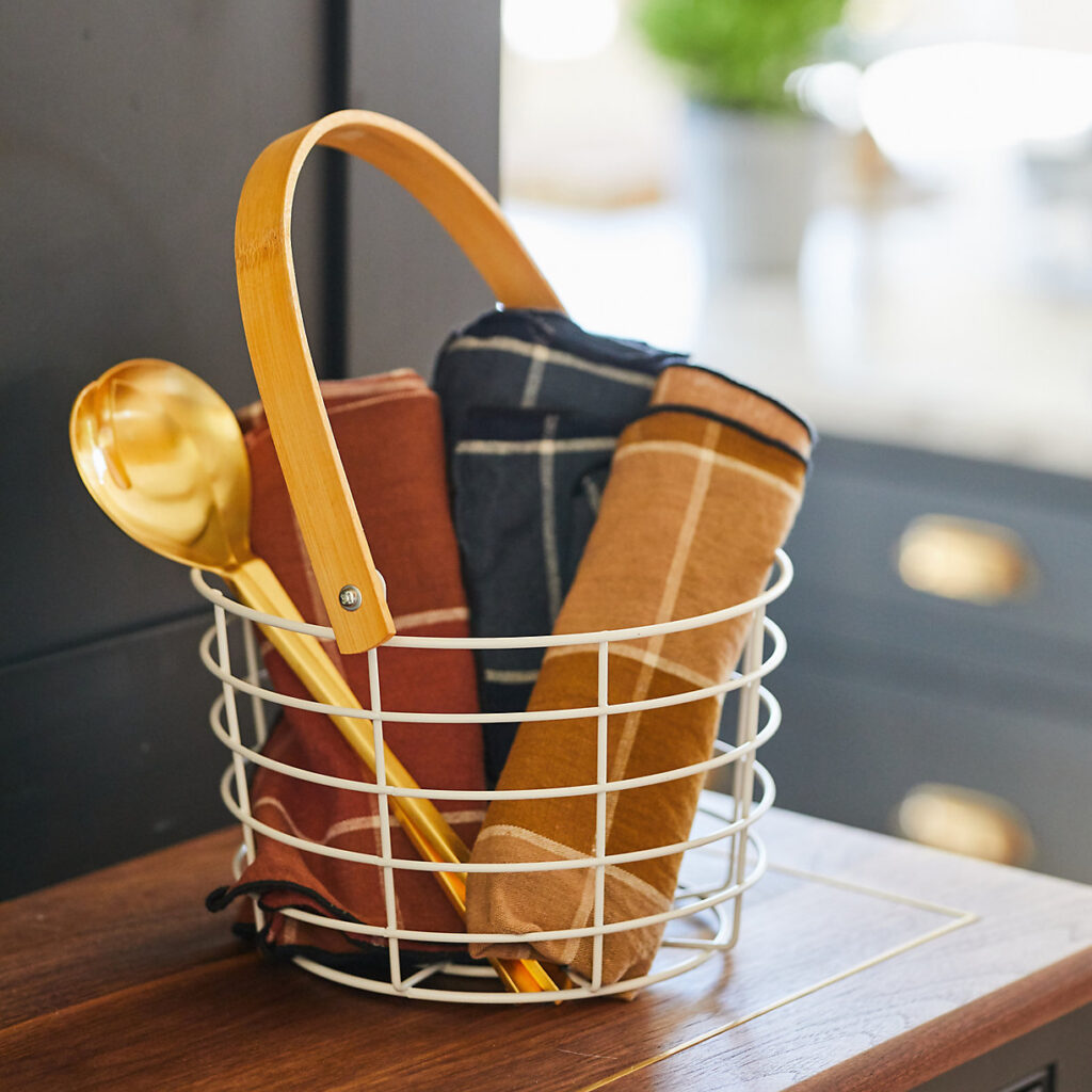 Steel + Bamboo Wire Basket $28.00