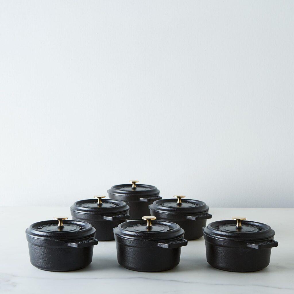 Staub Mini Round Cocotte, Black, 0.25QT (Set of 6) $389 https://fave.co/3w2U0dZ