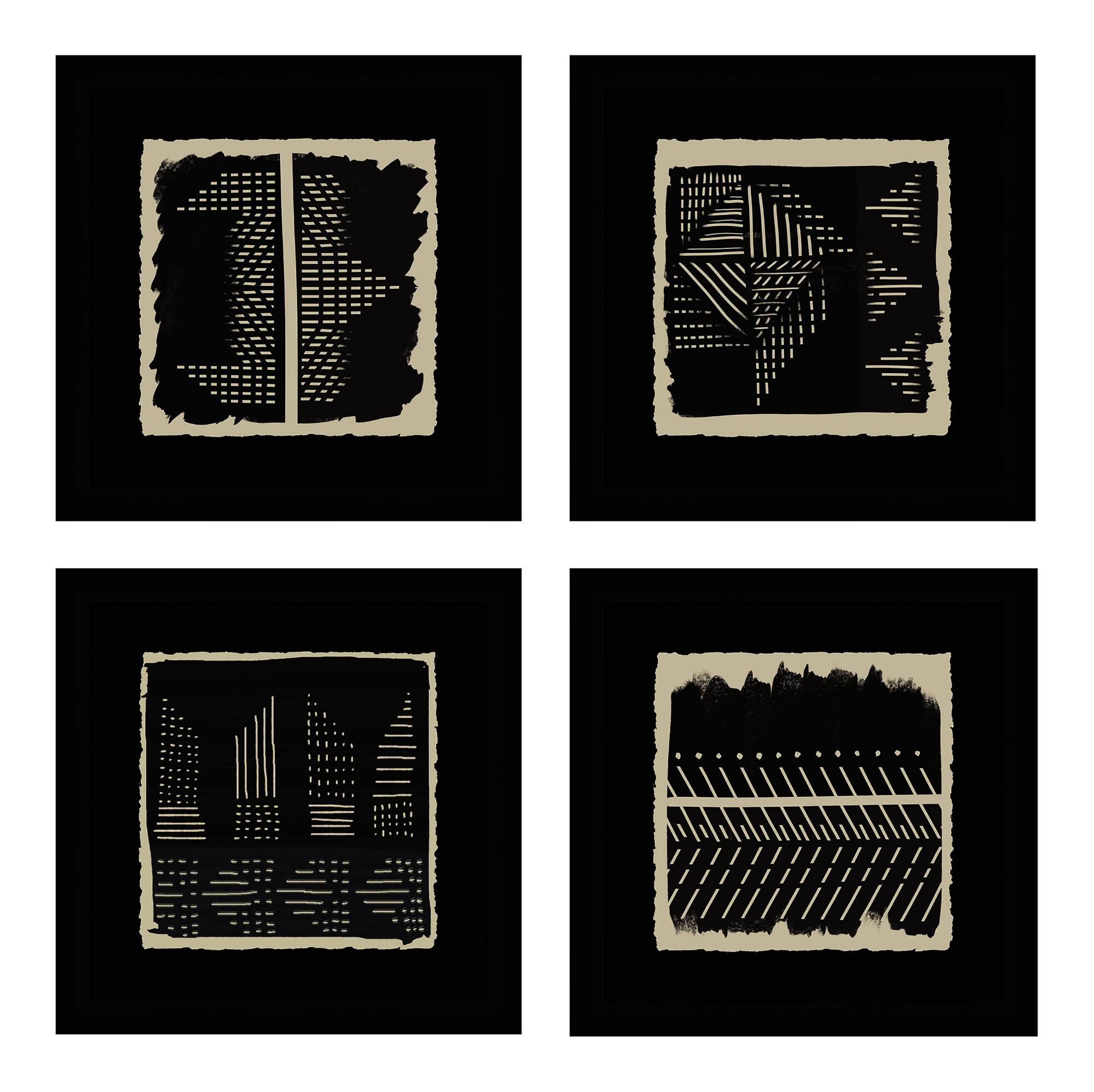 Black And Ivory Geo Patterns Framed Wall Art 4 Piece $199.99