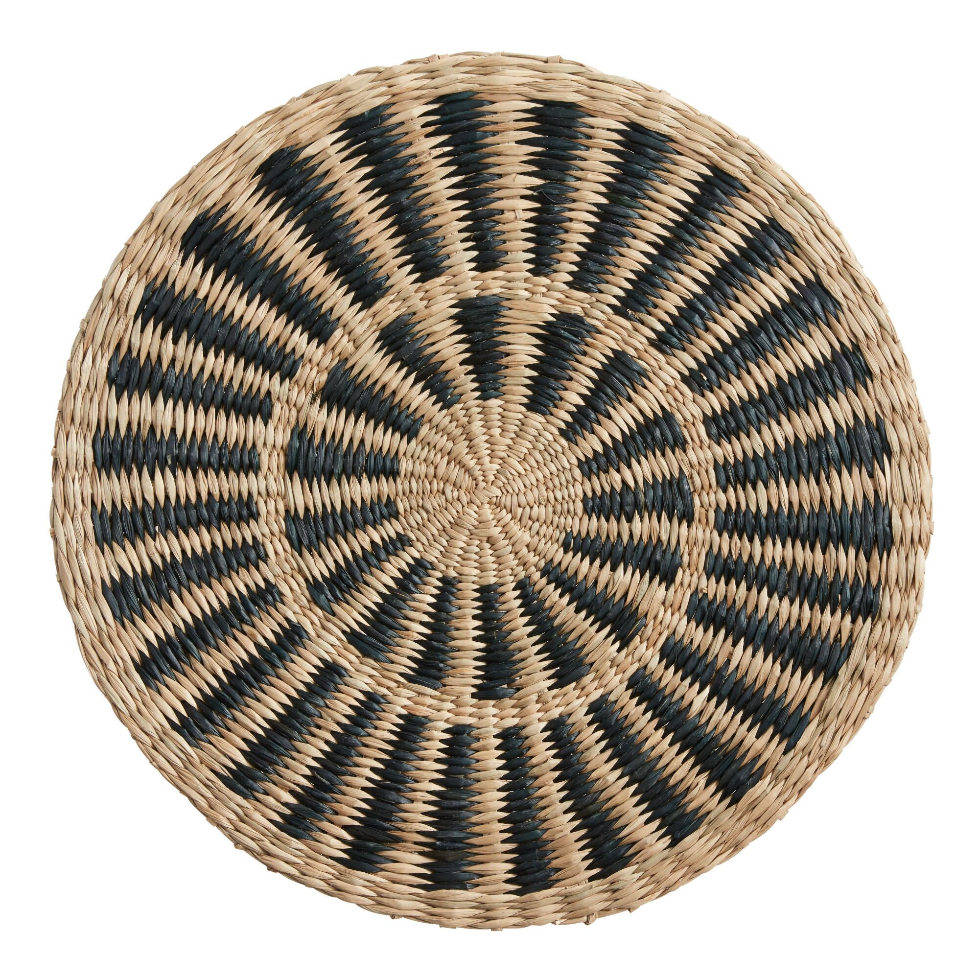 Round Natural And Black Woven Fiber Placemat $5.99