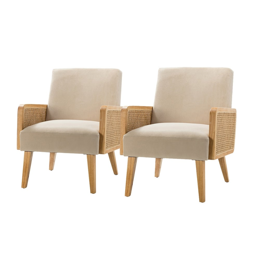 Delphine Cane upholstered Accent Chair with Tapered Leg ,set of 2 - Tan $564.40