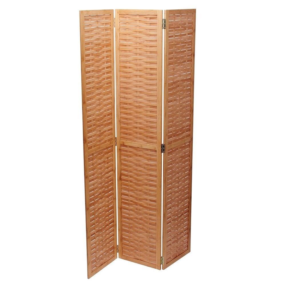 Basket Weave 3-panel Folding Bamboo Screen - 16\'\' x 68\'\' $119.49