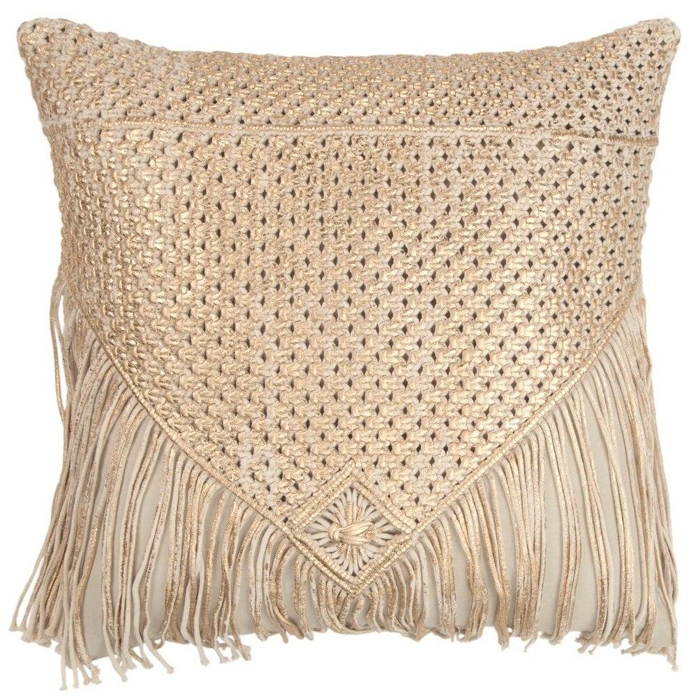 "Rizzy Home Gold Macrame 20\""X 20\"" Decorative Pillow $48.92"