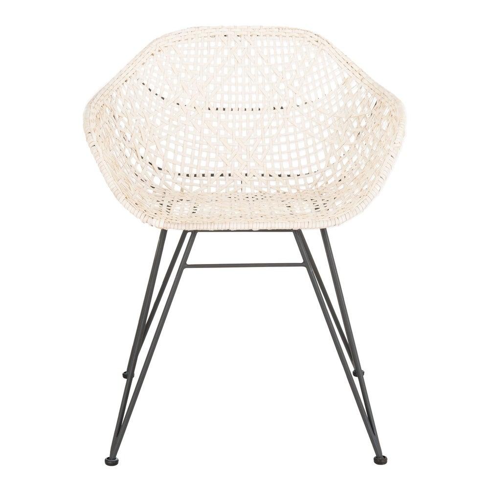 "Safavieh Jadis Woven White Leather/Metal Dining Chair - 23.6\"" x 21.7\"" x 34\"" $340.39"