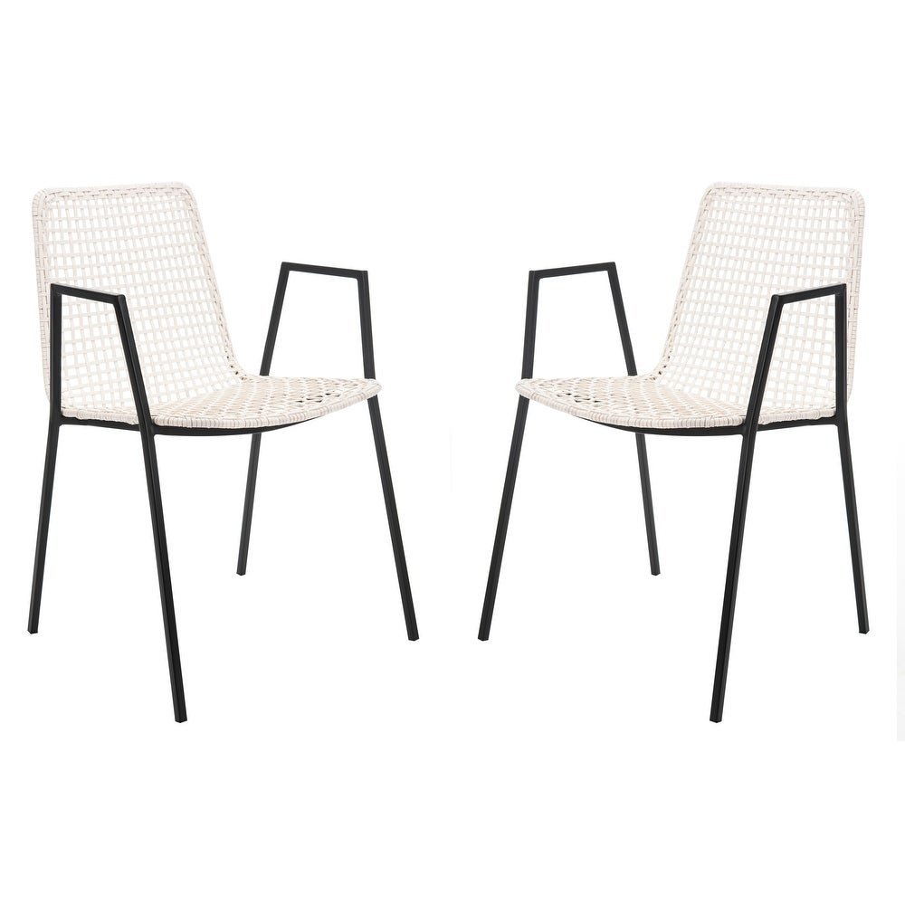 "Safavieh Wynona Leather Dining Chair-White / Black - 20\"" x 21\"" x 31\"" $312.37"