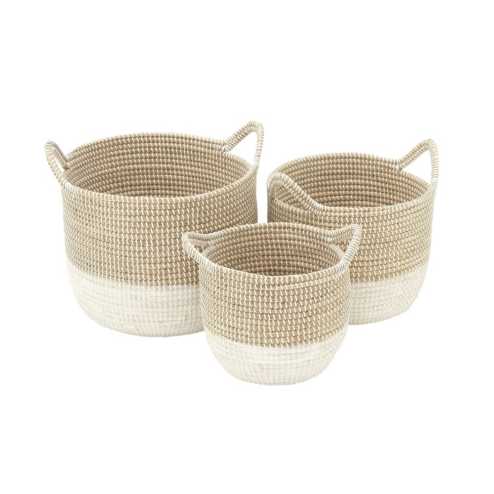 Set of 3 Natural Seagrass Baskets with Handles & White Metal Cording $104.84