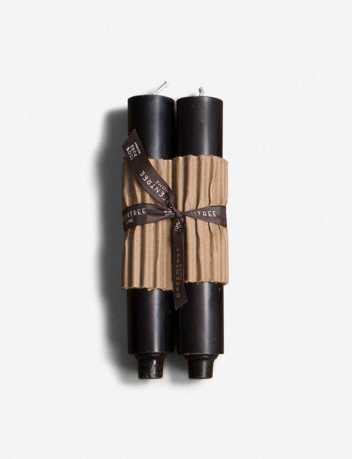 CERA COLUMN CANDLES, BLACK (SET OF 2) $33