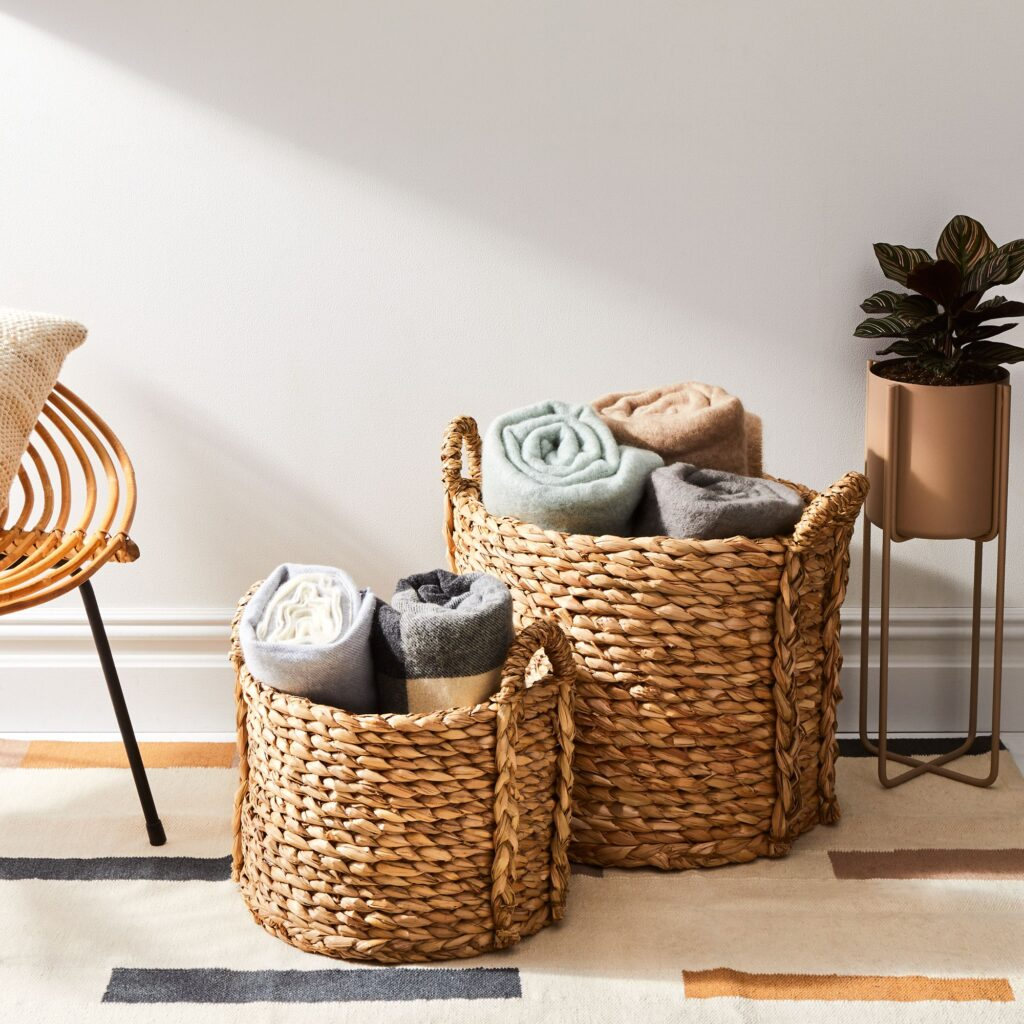 Hand-Braided Reed Floor Baskets with Handles $165–$375 https://fave.co/30c3l4D