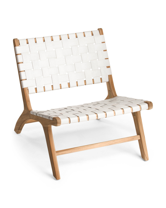 MADE IN INDONESIA Woven Leather Accent Chair $249.99