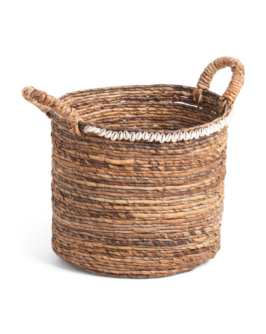 MADE IN VIETNAM Made In India Medium Round Banana Basket With Shell Top Edge $19.99