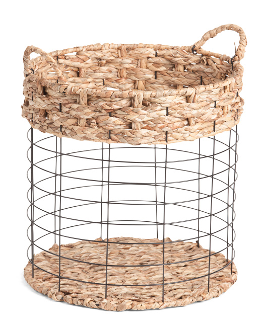 HANDCRAFTED IN VIETNAM Large Metal Round Basket With Braided Accent $24.99
