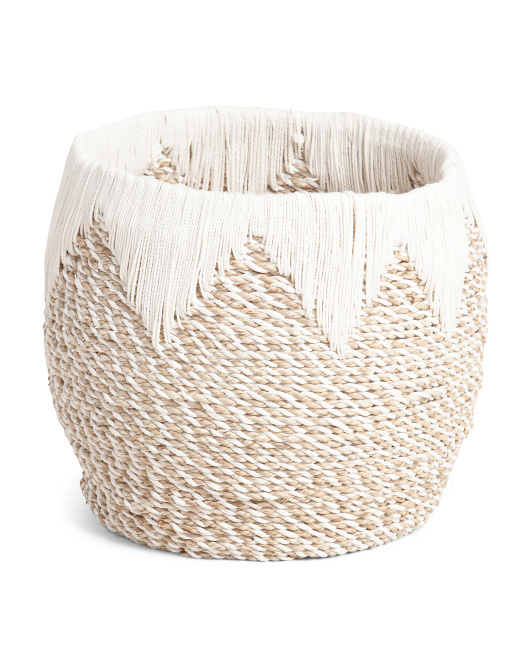MADE IN INDONESIA Medium Seagrass With Cotton Arrow Accent $24.99